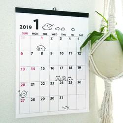 送料無料 2019年 どうぶつ 月めくりカレンダー a3 カレンダー さっちも