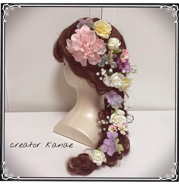 b63525b96d243 スウィート キュートな花嫁様へ❤ ウェディング、カラードレス、和装、成人式、アジサイ、ダリア、ヘッドドレス、髪飾り