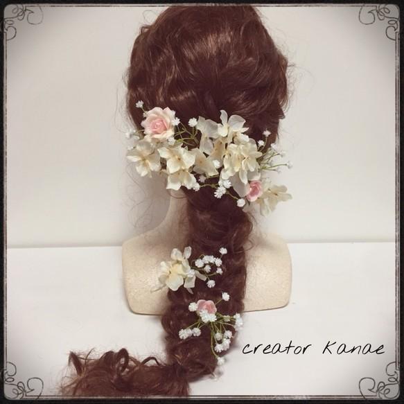 0d67115ae52cb アジサイとかすみ草のヘッドドレス 結婚式、ブライダルヘア、成人式、ウェディング、和装、振袖などでお探しの方に❤ ヘッドドレス(ウェディング) creator  kanae
