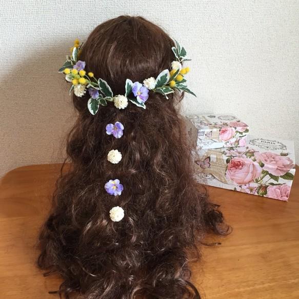 cea410489bad8 ミモザとビオラの髪飾り〜結婚式、ウェディング、ナチュラルウェディング、ガーデンウェディング、前撮り、ヘッドドレス ヘッドドレス(ウェディング) creator  kanae