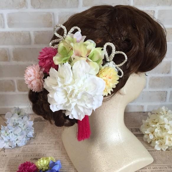 ダリアとマムの髪飾り〜結婚式、ブライダル、ウェディング、着物、和装、白無垢、色打掛、成人式、七五三、ヘッドドレス ヘッドドレス(ウェディング)  creator kanae