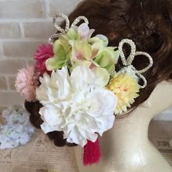 8a064c70e8947 ダリアとマムの髪飾り〜結婚式、ブライダル、ウェディング、着物、和装、白無垢、色打掛、成人式、七五三、ヘッドドレス