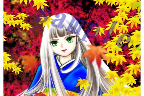 紅葉の中の少女の顔のアッププリント イラスト 琴月リュウ 通販