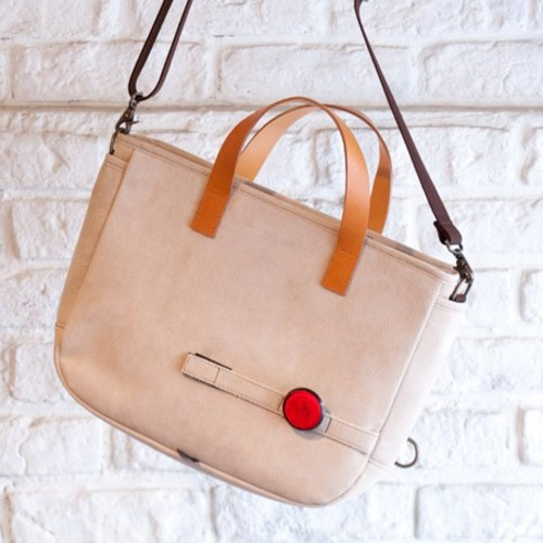 Leather cycle tote bag ( beige )