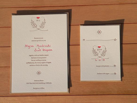 活版印刷 wedding invitation rsvp package 麦 その他オーダーメイド