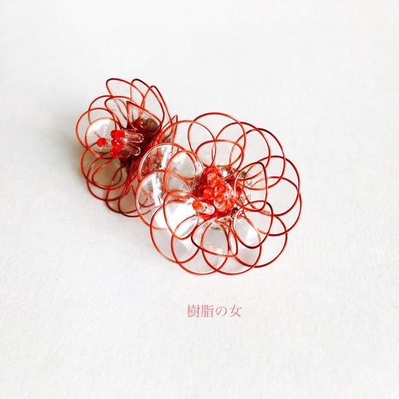 d6871205aac9cb 艶めく花 イヤリング orピアス 赤枠クリスタル イヤリング・ノンホールピアス 樹脂の女