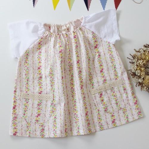洋服みたいな半袖スモック 120 花柄ストライプ